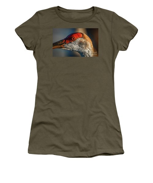 Women's T-Shirt featuring the photograph Sandhill Close Up Portrait by Tom Claud
