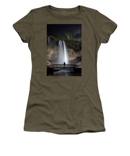 Seljalandsfoss Northern Lights Silhouette Women's T-Shirt