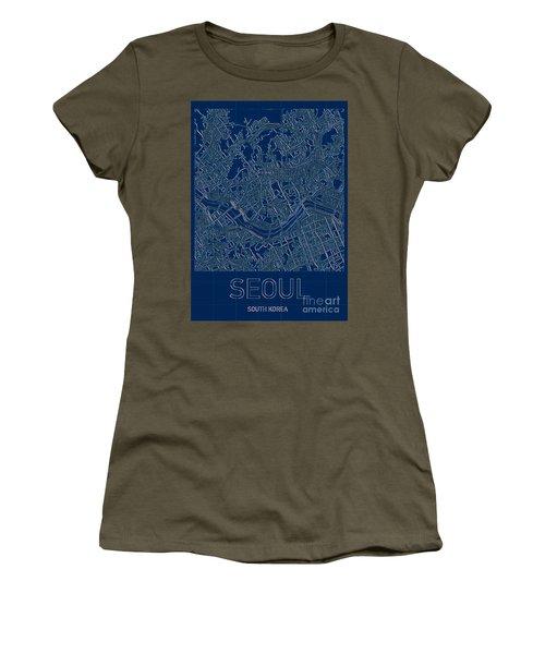 Seoul Blueprint City Map Women's T-Shirt