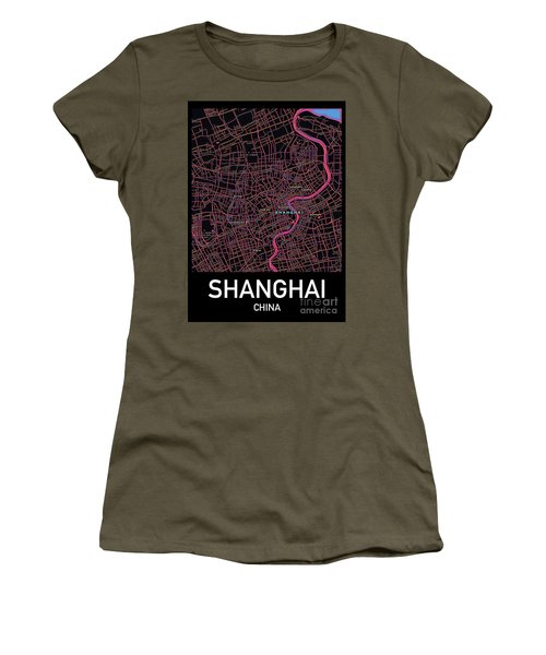 Shanghai City Map Women's T-Shirt