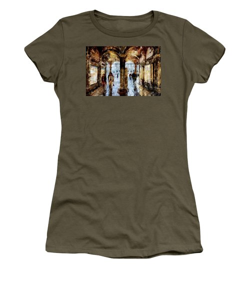 Shopping Area Of Saint Mark Square In Venice, Italy - Watercolor Effect Women's T-Shirt
