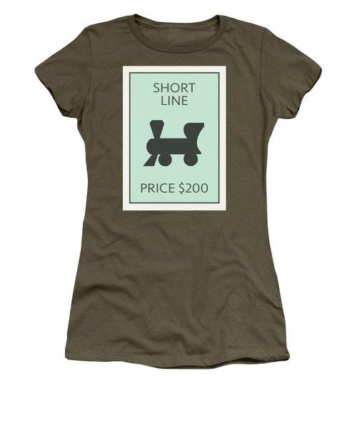 Short Line Railroad Vintage Retro Monopoly Board Game Card Women's T-Shirt