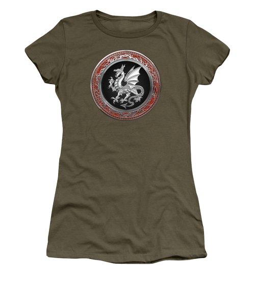 Silver Winged Norse Dragon - Icelandic Viking Landvaettir On Black And Silver Medallion Over Red  Women's T-Shirt