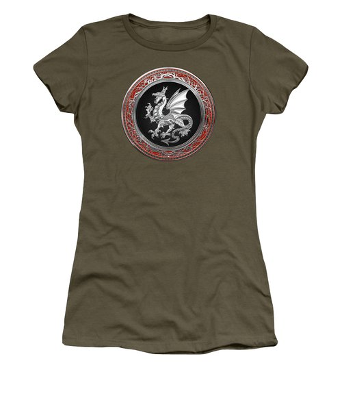 Silver Winged Norse Dragon - Icelandic Viking Landvaettir On Black And Silver Medallion Over Red  Women's T-Shirt