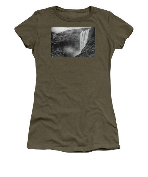 Skogafoss Iceland Black And White Women's T-Shirt