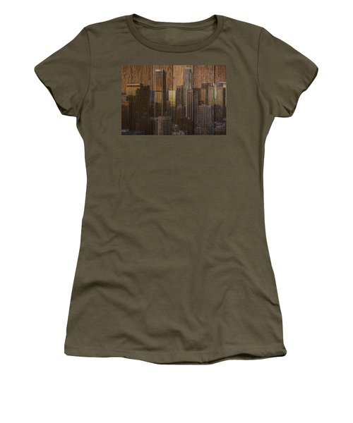 Skyline Of Los Angeles, Usa On Wood Women's T-Shirt