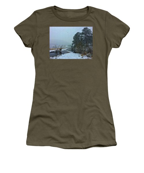 Women's T-Shirt featuring the photograph Snowstorm At The Lake by Dan Miller
