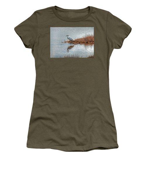 Snowy Egret Hunting A Salt Marsh Women's T-Shirt