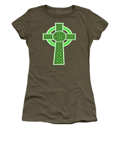 St Patrick's Day Celtic Cross Green And White Women's T-Shirt