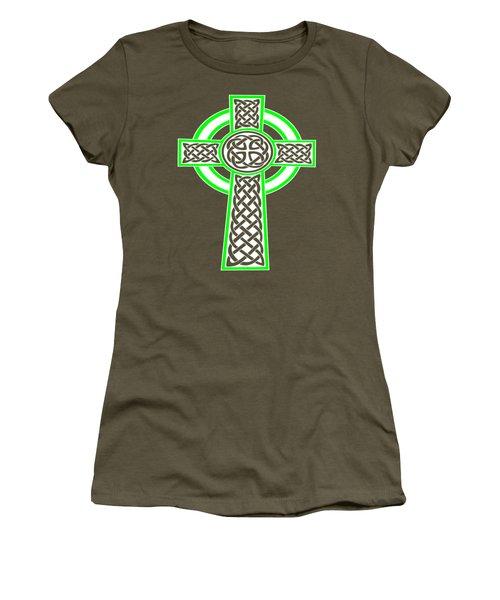 St Patrick's Day Celtic Cross White And Green Women's T-Shirt
