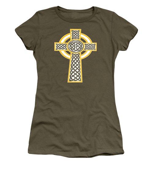 St Patrick's Day Celtic Cross White And Orange Women's T-Shirt