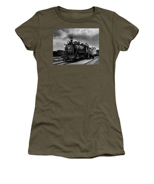 Steam Locomotive In Black And White 1 Women's T-Shirt