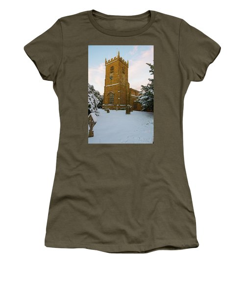 Stone Church In The Snow At Sunset Women's T-Shirt