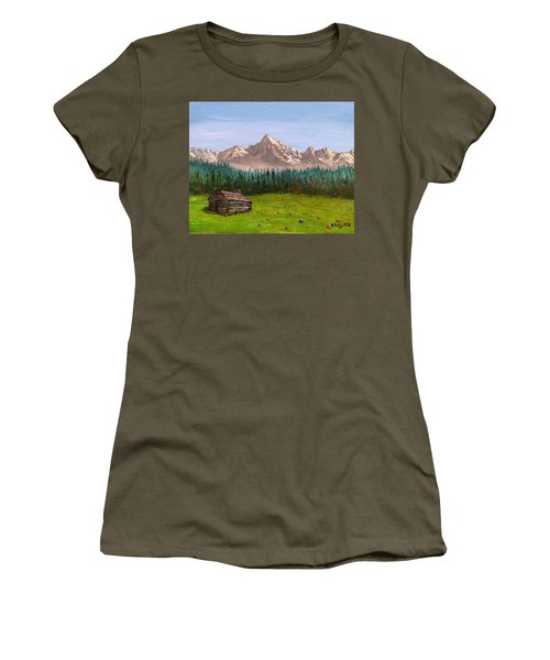 Women's T-Shirt featuring the painting Stump by Kevin Daly