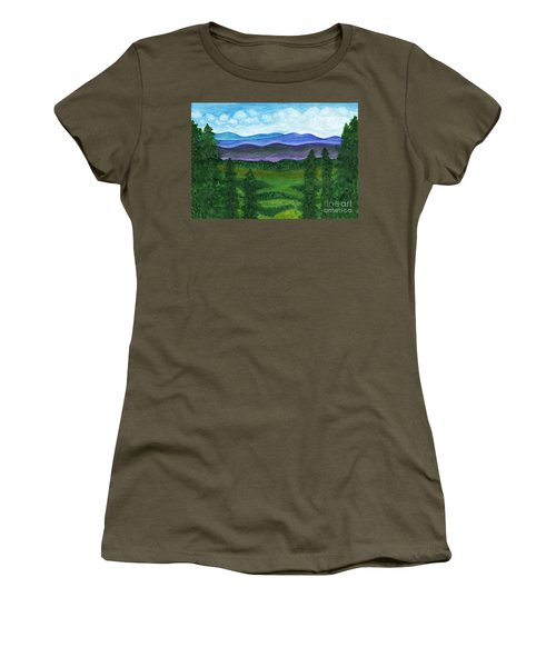 View From A Mountain Slope To Distant Mountains And Forests Women's T-Shirt