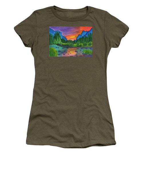 Mountain River In The Background Of The Forest And The Blue Mountains At Sunset Women's T-Shirt