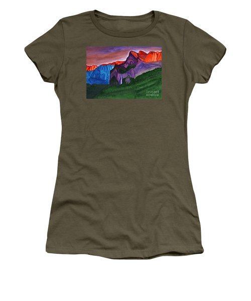 Snowy Peaks Of The Mountains With A Waterfall Lit Up By The Orange Dawn Women's T-Shirt