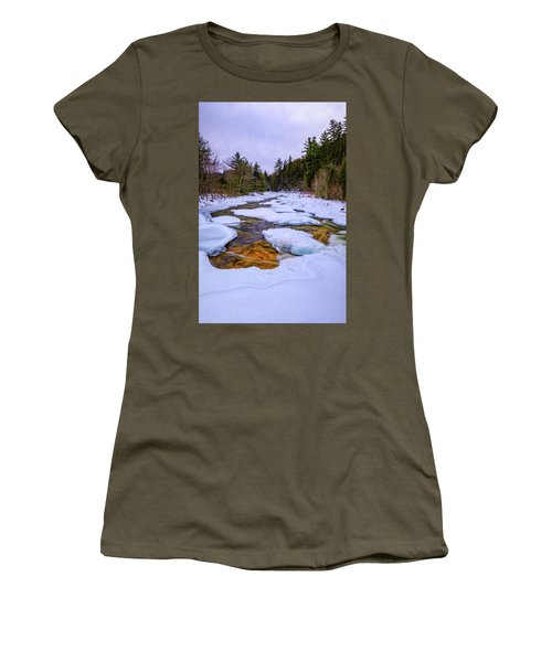 Women's T-Shirt featuring the photograph Swift River Winter  by Jeff Sinon
