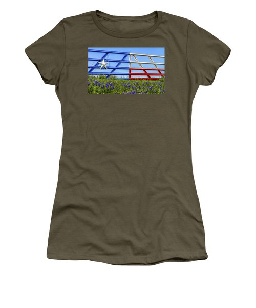 Texas Flag Painted Gate With Blue Bonnets Women's T-Shirt