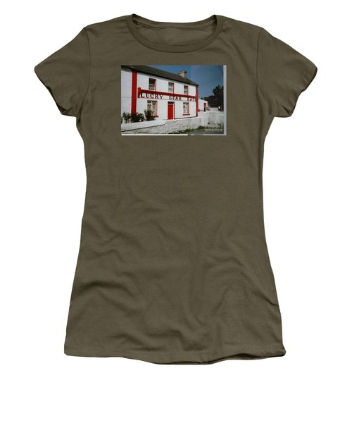 Women's T-Shirt featuring the painting The Lucky Star Bar, Kilronan, Aran by Val Byrne