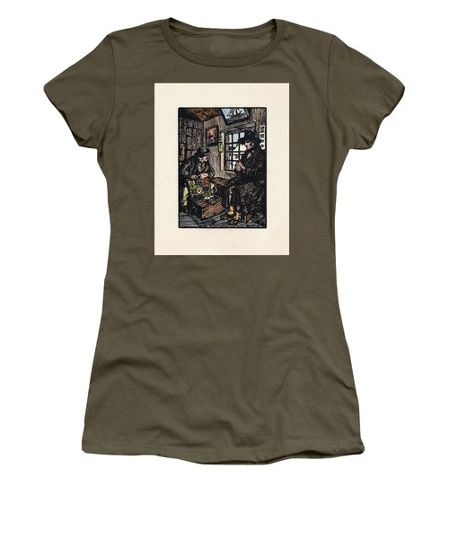 Women's T-Shirt featuring the painting The Sales Man by Val Byrne
