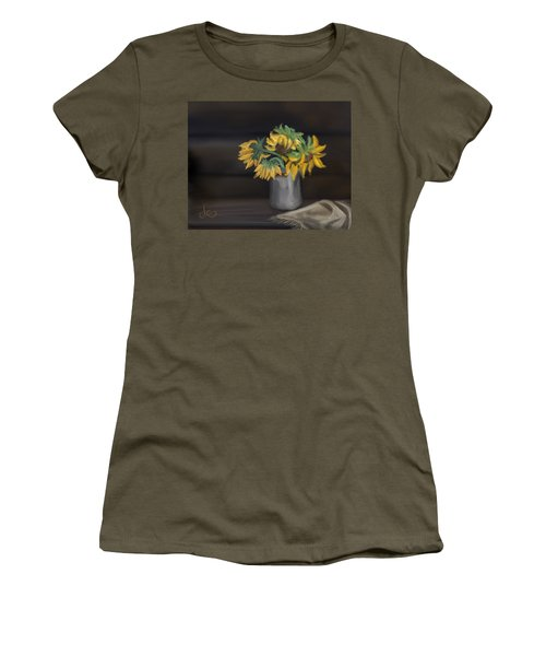 Women's T-Shirt featuring the painting The Sun Flowers  by Fe Jones