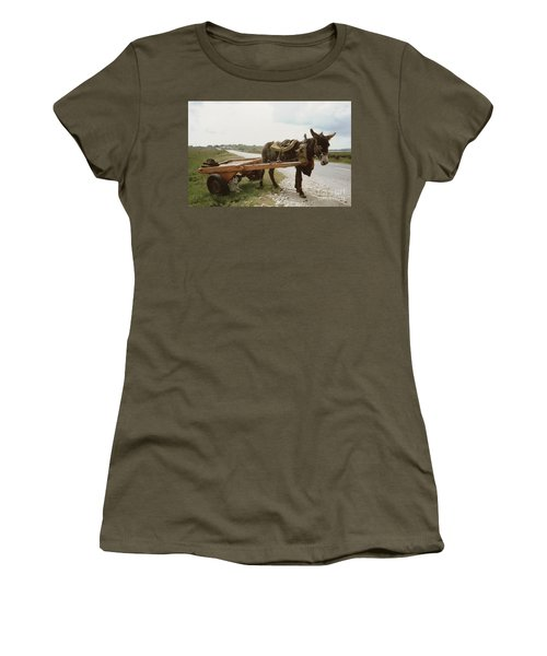 Women's T-Shirt featuring the painting The Turf Donkey by Val Byrne