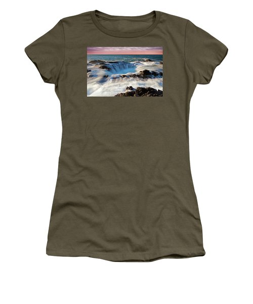 Women's T-Shirt (Athletic Fit) featuring the photograph Thor's Well Central Coast Oregon Sunset V4 by Rospotte Photography