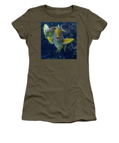 Women's T-Shirt featuring the photograph Tropical Fish Poses. by Anjo Ten Kate