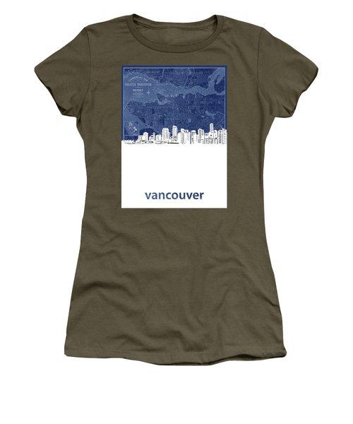 Vancouver Skyline Map Blue Women's T-Shirt