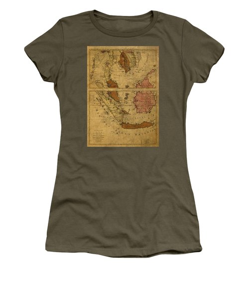 Vintage Map Of Southeast Asia Siam And Sumatra 1710 Women's T-Shirt