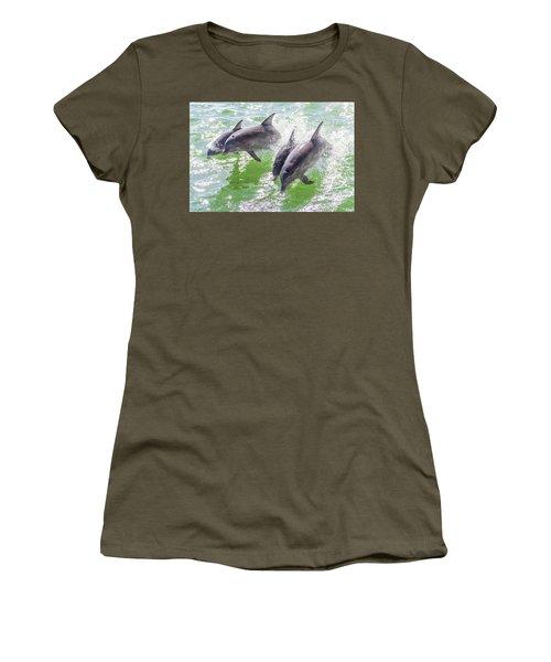 Wake Surfing Dolphin Family Women's T-Shirt