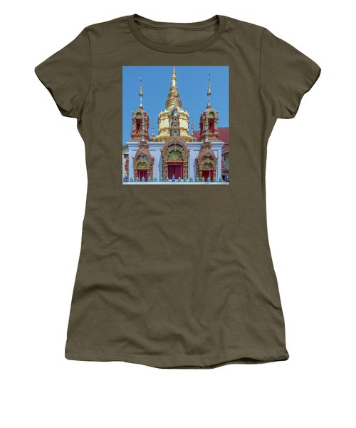 Women's T-Shirt featuring the photograph Wat Ban Kong Phra That Chedi Base Dthlu0502 by Gerry Gantt