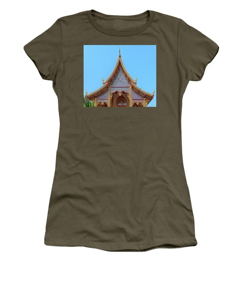 Women's T-Shirt featuring the photograph Wat Kulek Phra Wihan Gable Dthlu0443 by Gerry Gantt