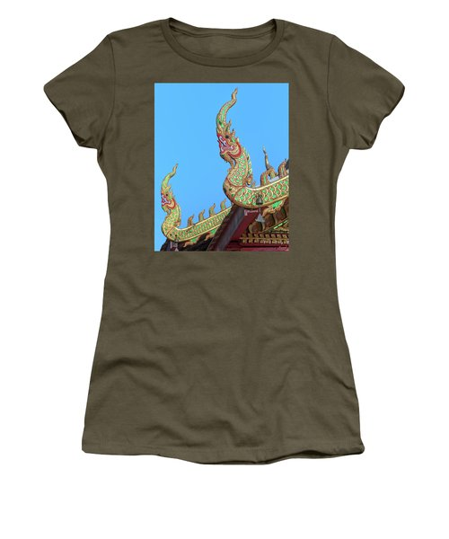 Women's T-Shirt featuring the photograph Wat Nong Khrop Phra Ubosot Naga Roof Finials Dthcm2665 by Gerry Gantt