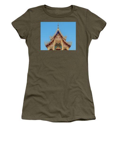 Women's T-Shirt featuring the photograph Wat Nong Tong Phra Wihan Gable Dthcm2640 by Gerry Gantt