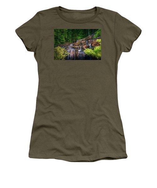 Women's T-Shirt featuring the photograph Waterfall At Top Of The Rock by Allin Sorenson