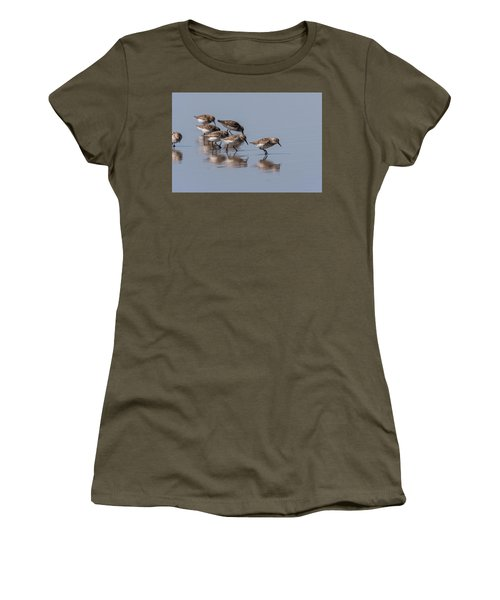 Western Sandpipers And Reflection Women's T-Shirt