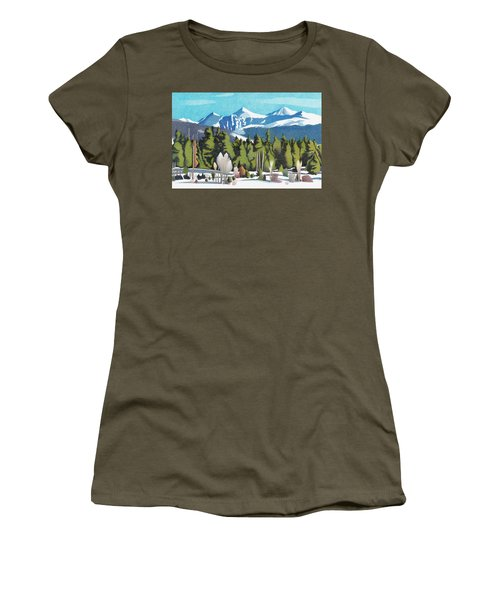Women's T-Shirt featuring the drawing Western Slope Winter by Dan Miller