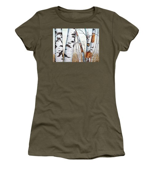 Wild Birch Trees In The Forest In Watercolor Women's T-Shirt