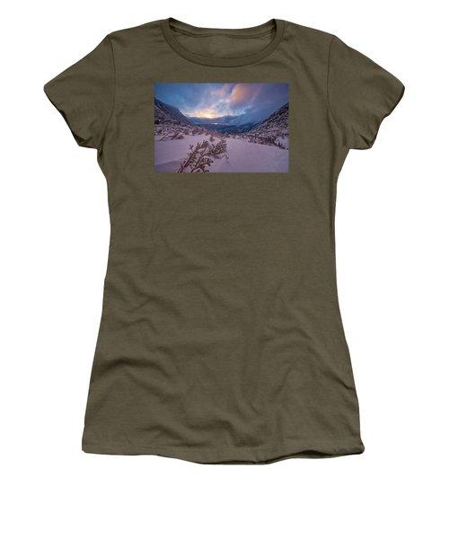 Women's T-Shirt featuring the photograph Windswept, Spring Sunrise In Tuckerman Ravine by Jeff Sinon