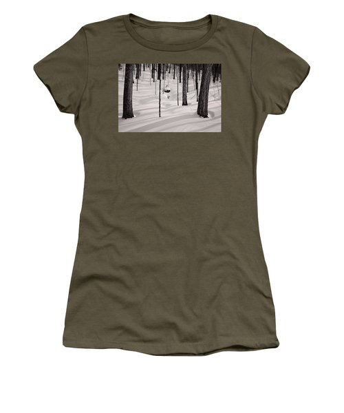 Women's T-Shirt featuring the photograph Winter Light In The Forest by Jeff Sinon