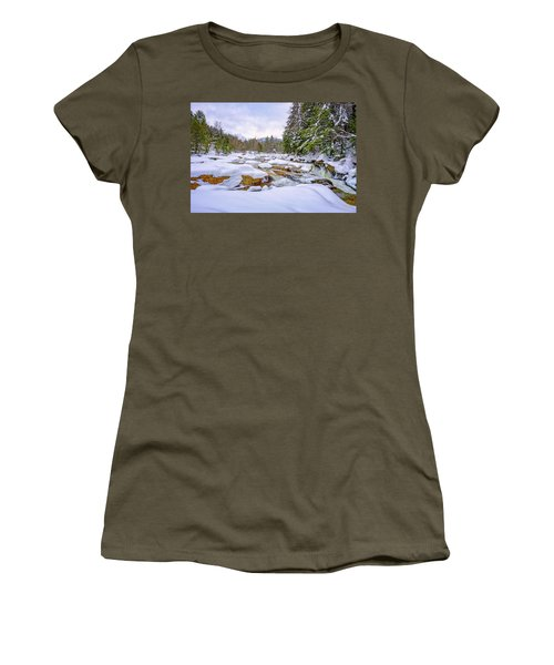 Women's T-Shirt featuring the photograph  Winter On The Swift River. by Jeff Sinon
