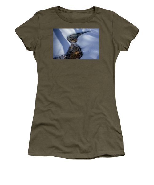 Women's T-Shirt featuring the photograph Winter Stream. by Jeff Sinon