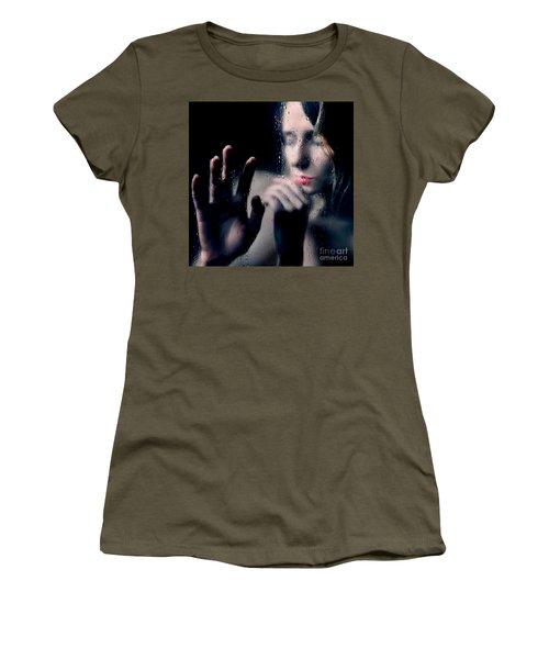 Woman Portrait Behind Glass With Rain Drops Women's T-Shirt