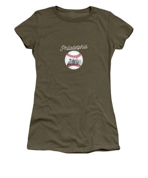 Womens Philadelphia Baseball Philly Tshirt Ball And Skyline Design V-neck T-shirt Women's T-Shirt