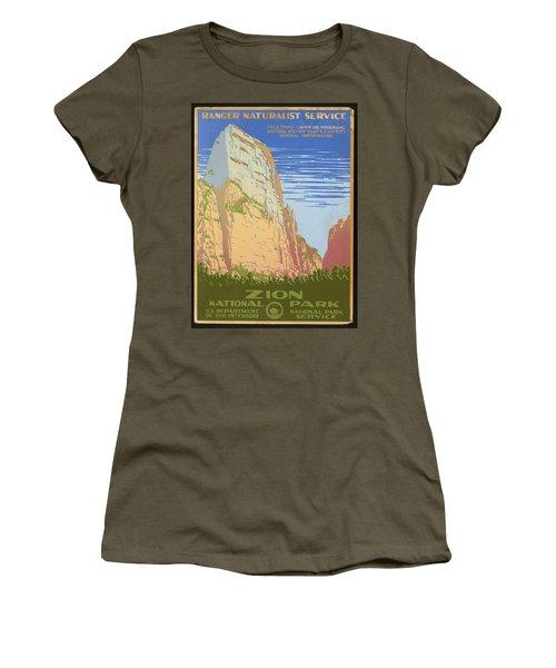 Zion National Park Ranger Naturalist Service Vintage Poster Women's T-Shirt
