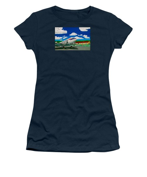 Portsmouth Ohio Airport And Lake Central Airlines Women's T-Shirt (Junior Cut) by Frank Hunter