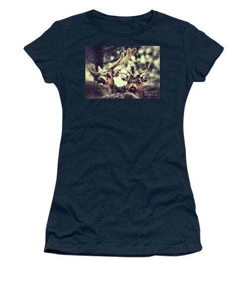 Deer In The Snow Women's T-Shirt
