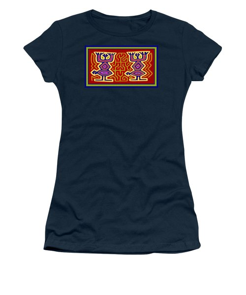Women's T-Shirt (Junior Cut) featuring the digital art Kuna Bird Spirits by Vagabond Folk Art - Virginia Vivier